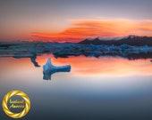 Winter Dawn Jokulsarlon - Aluminum Print : glacier Iceland