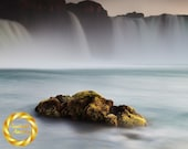 Iceland Waterfall Godafoss Rock - Printable Landscape Photo, Icelandic Waterfall Wall Art, Digital Download
