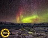 Iceland : Dark Night Aurora Aluminum Print