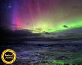 Aurora Colours Northern Lights Iceland - Printable Nature Photo Wall Art, Iceland Night Photography - Digital Download
