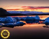 Sleepy Glacier Lake Fjallsarlon, Vatnjokull, Printable wall art - digital download Vatnjokull Glacier, Digital Download