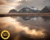 Brunahorn Gold Ice - Aluminum Print : Iceland mountain