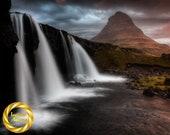 Kirkjufellsfoss Waterfall - Aluminum Print : Iceland Landscape