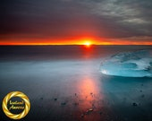 Rising sun Blue Ice Aluminum Print : Jokulsarlon Iceland