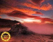 Fumarole Fire - Aluminum Print : geothermal Iceland