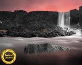 Oxararfoss waterfall Aluminum Print : Thingvellir Iceland