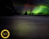 Iceland Aurora, Reynisfjara Black Sand Beach - Printable Northern Lights Wall Art, Iceland Night Photography - Digital Download