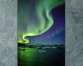 Iceland Northern lights at Jokulsarlon | Aluminum Print