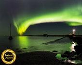 Iceland Northern Lights lighthouse - Printable  Aurora Wall Art, Iceland Night Photography, Aurora Borealis - Digital Download
