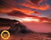 Iceland Landscape Namaskard Fumarole Fire Fine Art Photography - Archival Poster, Museum Grade Paper, Slight Matte Finish