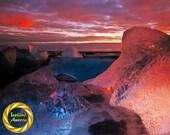 Iceland Jökulsárlón Glacier Beach Ice Pool, Dawn Colours -  Museum Grade Print, Glacier Landscape, Iceland Nature Photo