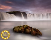 Iceland Waterfall Photo, Godafoss Rock - Aluminium or Museum Grade Paper - Iceland Landscape Wall Art