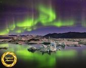Green Auroras Jokulsarlon Glacier Lagoon, Iceland - Iceland Wall Art, Fine Art Photography