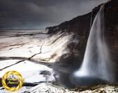 Iceland Waterfall Print - Seljalandsfoss Winter Drama - Museum Quality Wall Art, Slight Matte Finish Professionally Printed, Hangable