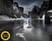 Dark Iceland River Gorge - Brushed Aluminum Print : Iceland Landscape