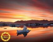 Iceland Jokulsarlon Magic Lagoon - Glacier Wall Art, Museum Grade Paper, Matte Finish Professionally Printed, Colourful landscape