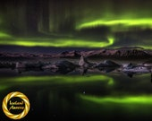 Night of Ghosts Jokulsarlon Glacier Lagoon, Iceland - Northern Lights Photography Collectable Archival Matte Print
