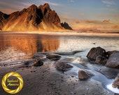 Iceland , Vestrahorn Mountain, Stokksnes Beach Icelandic Coastal Landscape - Collectable Wall Art