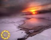Geysir Winter hot-spring - Aluminum Print : Iceland Landscape Photo, Winter Sun Nature Print