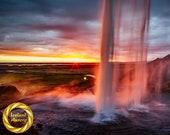 Seljalandsfoss Summer Aluminum Print : waterfall Iceland
