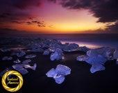 Velvet Ice Beach Aluminum Print : Jokulsarlon Iceland