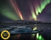Aurora Night Jokulsarlon, Iceland - Northern Lights Wall Art  Collectable Archival Matte Print
