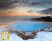 Iceland Landscape Scenery Blue Pool at Hveravellir, Nature Photo Wall Art - Museum Grade Paper