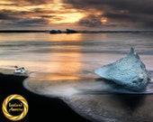 Iceland Diamond Beach Blue Ice - Fine Art Photography -  Museum Grade Paper, Matte Finish Professionally Printed