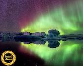 Red Aurora Star Jokulsarlon, Iceland - Northern Lights Photo Art  Quality Archival Matte Print