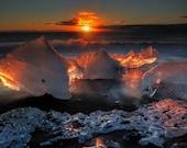 Iceland : Sun Beach on Canvas