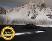 Aluminum Print Panorama Photo - Vestrahorn Mountain Winter, Iceland
