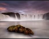 Iceland : Godafoss Waterfall Rock Aluminum Print