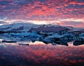 Iceland : Jokulsarlon Red Sky Acrylic Print