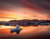 Iceland : Magic Lake Brushed Aluminum Print