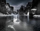 Iceland River Gorge 2 Brushed Aluminum Print