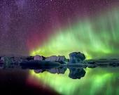 Iceland : Red Star Aurora - Premium Photo Print