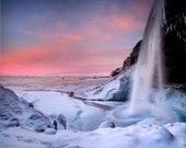 Iceland : Seljalandsfoss Winter Waterfall Aluminum Print