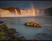 Iceland : Godafoss Rainbow Aluminum Print