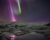 Iceland : Fjallsarlon Flash on Canvas