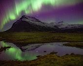 Iceland : Aurora Mountain Photo Print