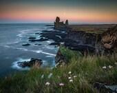 Iceland : Londrangar Moon on Canvas