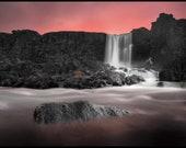 Iceland : Oxararfoss waterfall Aluminum Print