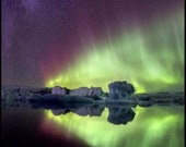 Iceland : Jokulsarlon Northern Lights Aluminum Print