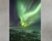 Iceland : Wishbone Aurora Photo paper poster