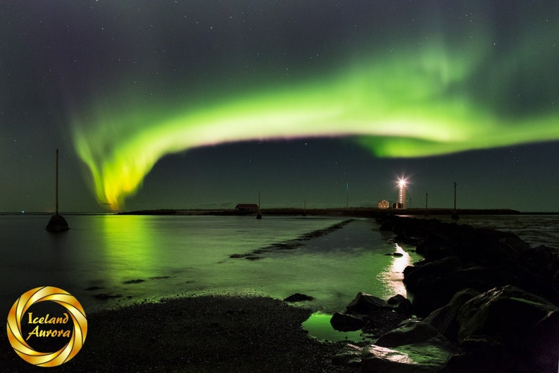 Iceland Northern Lights lighthouse  Printable  Aurora Wall image 0