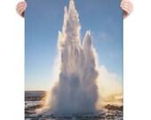 Erupting Geyser on Canvas : Geysir Iceland