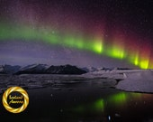 Iceland Northern Lights Photo, Red Aurora Snow- ,  Printable Wall Art, Iceland Night Photography, Jokulsarlon Iceland, Digital Download