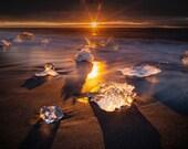 Dawn Star on Canvas : Diamond Beach Iceland