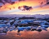 Glacier Sky on Canvas : Jokulsarlon Iceland
