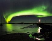 Northern Light house on Canvas : Lighthouse Iceland Aurora